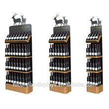 Grocery Store Wholesale 3 Tier Bamboo Wooden Tray Metal Red Wine Holder Rack Wood Supermarket shelf Gondola Shelving
