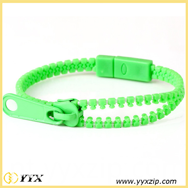 green zip-lanyard
