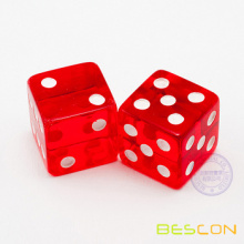 Red Transparent Trick Dice 18 mm that roll 7 or 11 every time