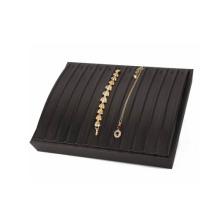 12 слотов Черный кожаный ювелирный браслет Держатель для лотков (TY-12BT-BL)