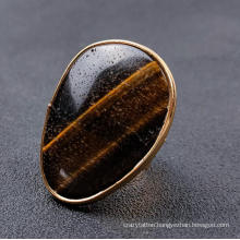New Arrival Amazon Hottest Sell Natural Tiger Eye Stone Ring Irregular Gold Edge Adjustable Male Ring