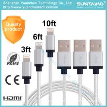 Nuevo cable de carga de relámpago de 8pins USB Data para iPhone