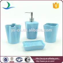 YSb40160-02 4 pcs jogo de cerâmica de banho de cerâmica original azul, conjunto de casa de banho