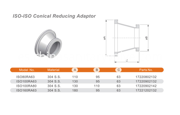 ISO-ISO conical reducing adapter SS316
