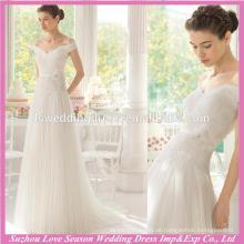 WD9114 neue berühmt mit niedrigen Preis weiß aus Schulter Spitze Spitze 3D Blumen Taille mit Rüschen Tüll Rock A-Linie Korea Brautkleider