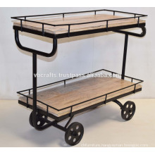 Industrial Design Serving Trolley Cast Iron wheels Mango Wood Lime Finsih
