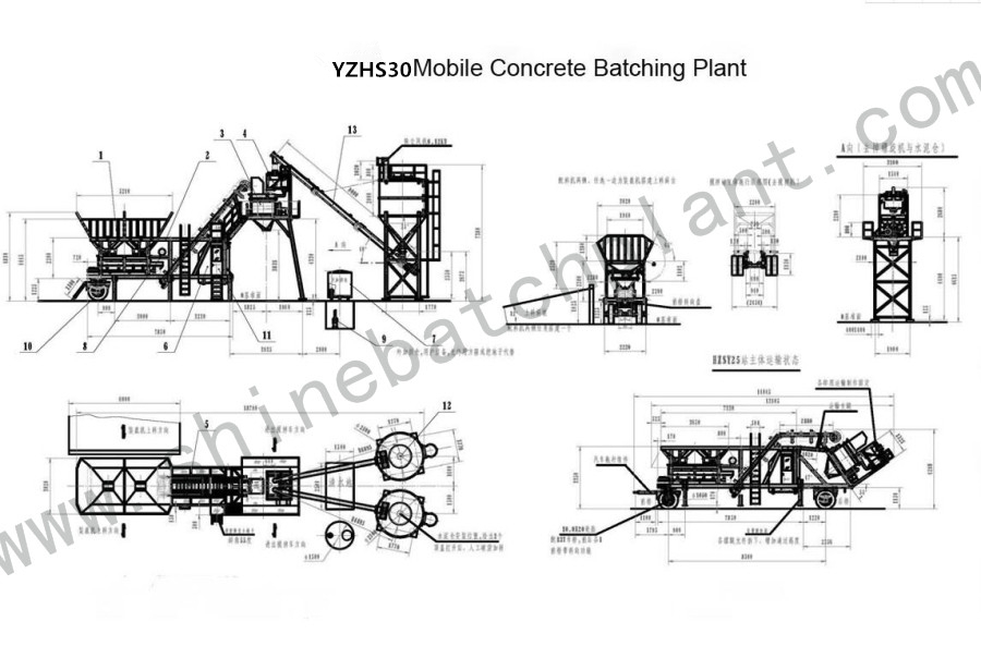 Drawing Mobile Batch Plant 30