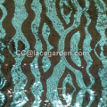 Blue and Black Color Sequins Embroidery Fabric