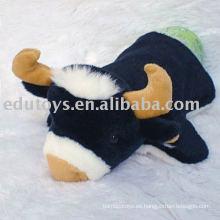 Peluche de vaca marionetas de enseñanza de ayuda a la promoción de juguete