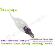 Violet Color Aluminum 1070 Base E14 Led Candle Bulbs Warm W