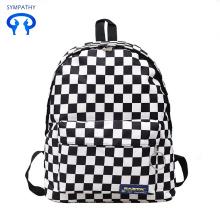 Μαύρο και άσπρο checkbag σχολική τσάντα ταξιδιού της Κορέας