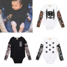 Newborn Boy Girl Baby Flower Arm Tattoo Fake Two Long-Sleeved Romper Baby Romper Tide Long-Sleeved T-Shirt