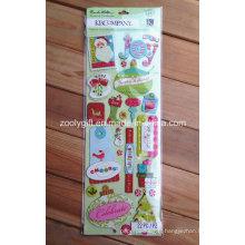 Emballages à la main faits à la main en papier Crack Scrapbooking Holiday Glitter Adhesive Dimensional Stickers