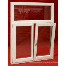 Vente chaude PVC / UPVC Inclinez et tournez la fenêtre en verre