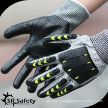 SRSAFETY HPPE & glassfiber coated nitrile cut & impact resistant working glove