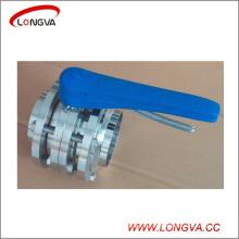 Válvula de mariposa de soldadura de 3 piezas sanitarias de acero inoxidable 304