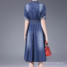 13CD1155 Ladies cotton denim maxi designer dress