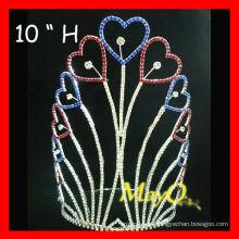 La plata al por mayor plateó la corona patriótica grande del desfile del corazón alto grande