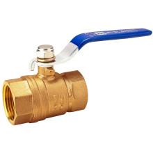 NSF Голубая ручка Хромированный кованый латунный шаровой клапан