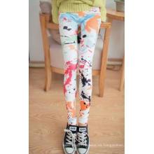 Chicas sexy multicolor transparente impresas Leggings Jeans