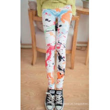 Mulheres bonitas Multi colorido caneleiras impressas sem costura Jeans