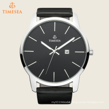 Men′s Genuine Leather Strap Quartz Watch with Black Dial 72484