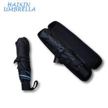 Articles promotionnels avec des impressions de logo 21 pouces en gros de la publicité de mode pliage mini parapluie UV de poche avec boîtier EVAGift Balck