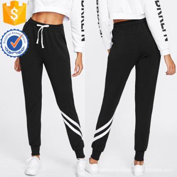 Шнурок талии с отделкой в полоску спортивные штаны оптом производство модной женской одежды (TA3082P)