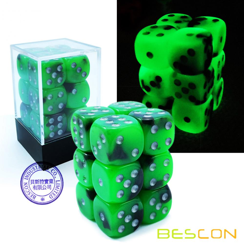 Bescon Two Tone Glowing Dice D6 16mm Set de 12pcs SPOOKY ROCKS, 16mm Six Sided Die (12) Bloc de dés rougeoyant