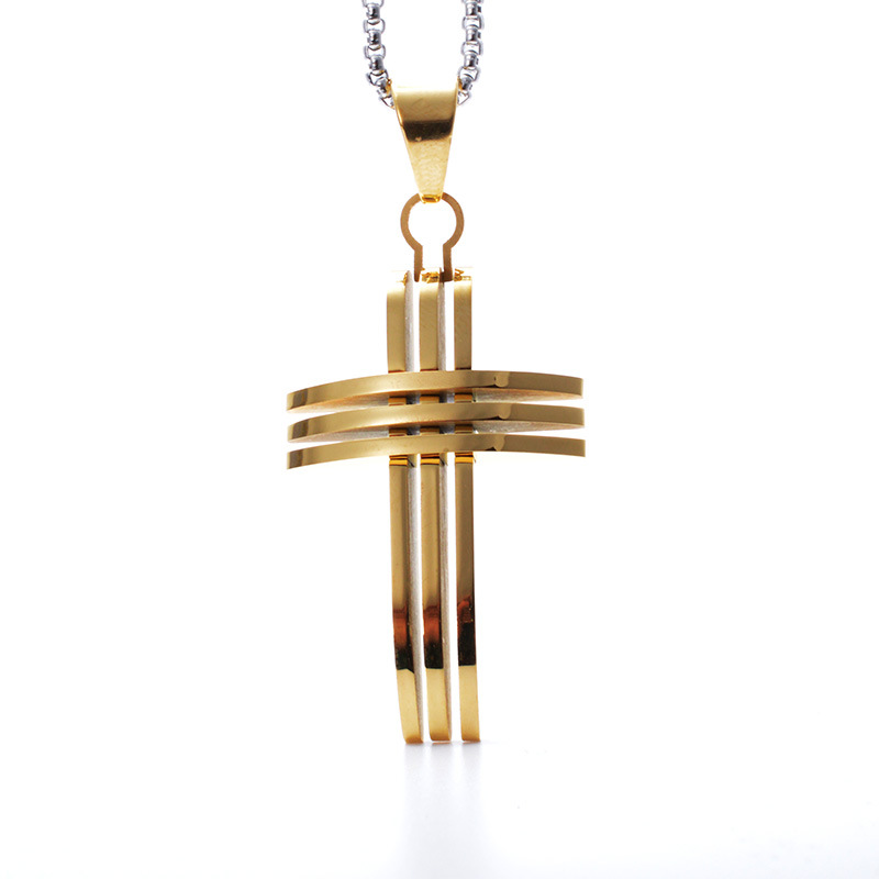 Three Lines High Polishing Jesus Christ Cross Pendant