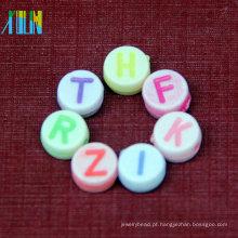 Pulseira DIY acrílico oval multicolor miçangas alfabeto Inglês