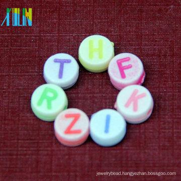 DIY bracelet acrylic oval multicolor english alphabet beads