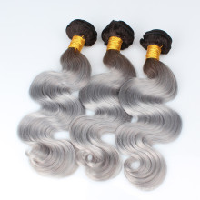 Dark root black to gray human hair extension body wave