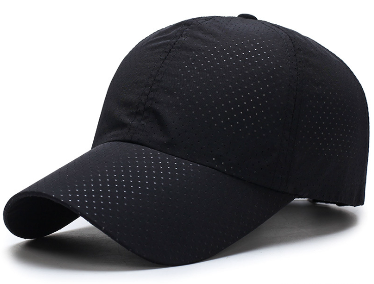Full Hole Polyester Plain Cap Black