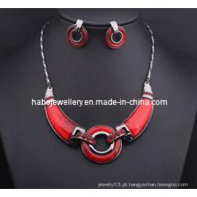 Conjunto de colar de anel vermelho grande / moda jóias set (xjw13208)