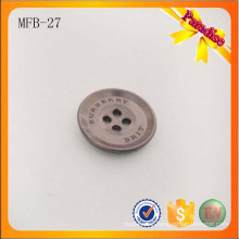 MFB27 Gun color Classic metal 4 holes metal button with brand logo engraved for shirt