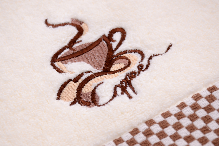 Towels with Embroidery Coffee CUP