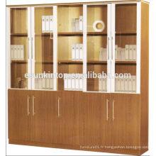 Bureau grand étagère de livre, énorme boîte à bois à cinq portes avec portes en verre