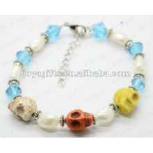 Fashion 2012 Joya Skull With Glass Beads Anklet