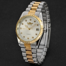 mixed color stainless steel band watch with diamond setting dial