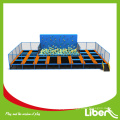 2015 Top Sale Sports Games Indoor Trampoline with Foam Pit, Customized Size Indoor Trampoline with Rock Climbing Foam PIt