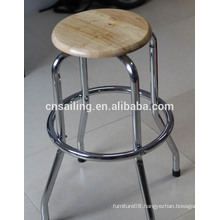 Promotion Chrome Plated Swivel wooden bar stool