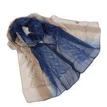 Bufanda de seda de bufanda emboidery de dos tonos de color con lentejuelas