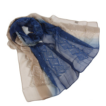 Шелковый шарф с вышивкой из двух цветов, с блестками