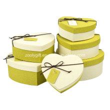 Hearted forma especial de papel texturizado regalo cajas de embalaje