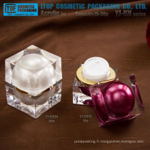 Cristal double couches de chaud-vente de luxe rentable cher pot carré plastique emballage cosmétique crème