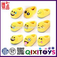 Produção profissional de alta qualidade de pelúcia confortável criança interior emoji chinelo