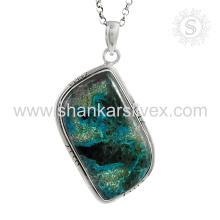 Trendy azurite gemstone silver pendant handmade jewelry 925 sterling silver jewelry wholesale supplier