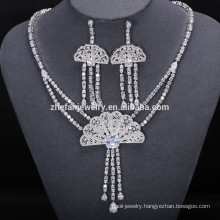 fashion Wedding Statement Necklace CZ Crystal Crazy Big Heavy Luxury Women Party Earrings necklace set