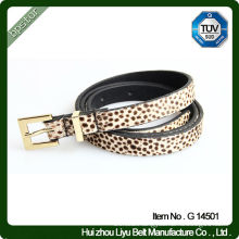 G14501 Girl's Leather Leopard Print Belt With Hair